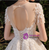 Champagne Tulle Sequins Short Sleeve Appliques Beading Wedding Dress