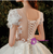 Tulle Appliques Puff Sleeve Beading Scoop Wedding Dress
