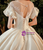 Dark Champagne Satin Puff Sleeve Lace Button Wedding Dress