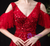 Red Tulle V-neck Beading Sequins Flying Sleeve Prom Dress