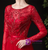 Red Tulle Long Sleeve Beading Formal Prom Dress