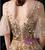 A-Line Gold Tulle V-neck Sequins Long Prom Dress