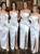 White Sheath Satin Strapless Pleats Front Split Bridesmaid Dress