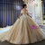 Champagne Tulle Sequins Corset Beading Wedding Dress