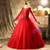 Red Tulle Long Sleeve Beading Sequins Quinceanera Dress