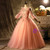 Pink Tulle Long Sleeve Appliques Beading Quinceanera Dress
