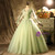 Green Tulle V-neck Long Sleeve Appliques Pleats Quinceanera Dress