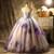 Purple Tulle Print Appliques Beading Quinceanera Dress