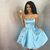 Blue Satin Strapless With Pocket Homecoming Dress