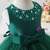 A-Line Green Tulle Short Flower Girl Dress With Beading