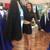 Black Long Sleeves Long High Low Satin Prom Dress