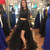 Black Long Sleeves Long High Low Satin Prom Dress