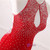 Mermaid Red Long Prom Dress Sparky White Beading Sexy Party Gown