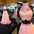 Pink Two Piece Tulle Prom Dress Open Back Floor Length Prom Dress