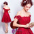 In Stock:Ship in 48 hours Red Appliques Off The Shoulder Prom Dress