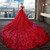In Stock:Ship in 48 hours Ball Gown Off The Shoulder Red Tulle Wedding Dress
