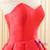 Simple Red Hi Lo Satin Sweetheart Backless Wedding Dress