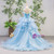 Blue Ball Gown Tulle Strapless Pleats Wedding Dress