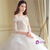 Luxury Ball Gown Tulle Off The Shoulder Short Sleeve Wedding Dress