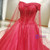 Red Tulle Off The Shoulder Beading Wedding Dress