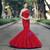 Mermaid Red Sequins One Shoulder Floor Length Wedding Dress