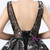 Black Ball Gown Tulle V-neck Backless Appliques Prom Dress