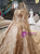 Gold Ball Gown Off The Shoulder Appliques Long Train Wedding Dress