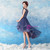 In Stock:Ship in 48 hours Blue Hi Lo Tulle Appliques Homecoming Dress
