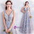 In Stock:Ship in 48 hours Gray V-neck Backless Tulle Prom Dress