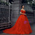 Red Ball Gown Tulle Off The Shoulder Appliques Short Sleeve Wedding Dress