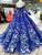 Blue Ball Gown Spaghetti Straps Long Sleeve Backless Wedding Dress