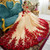Champagne Tulle Red Flower Cap Sleeve Sexy See Through Back Wedding Dress