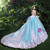 Blue Ball Gown Tulle Appliques Backless Hand Made Flower Wedding Dress