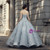 Gray Ball Gown Sweetheart Neck Sequins Floor Length Wedding Dress