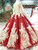 Red Ball Gown Sequins Long Sleeve Appliques Floor Length Wedding Dress