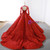 Red Ball Gown Long Sleeve Backless Appliques Wedding Dress