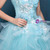 Blue Ball Gown Tulle Appliques Long Sweet 16 Dresses With Pearls