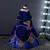 Royal Blue Velvet High Neck Long Sleeve Flower Girl Dress With Appliques