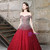 Burgundy Ball Gown Tulle Off The Shoulder With Sequins Quinceanera Dresses