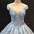 Blue Ball Gown Off The Shoulder Appliques Haute Couture Wedding Dress