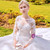 White Ball Gown Tulle Lace Appliques Long Sleeve Wedding Dress