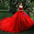 Red Ball Gown Tulle Appliques Off The Shoulder Short Sleeve Wedding Dress