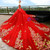 Red Ball Gown Spaghetti Straps Embroidery Appliques Wedding Dress