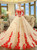 Champagne Ball Gown Tulle Red Appliques Long Sleeve Wedding Dress