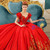 Red Ball Gown Lace Puff Sleeve Gold Appliuqes Wedding Dress With Crystal