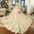 Luxury Champagne Tulle Off The Shoulder Appliques Wedding Dress With Crystal