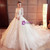 White Ball Gown Tulle Lace Appliques Long Sleeve Wedding Dress With Long Train