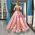 Pink Ball Gown Sequins Blue Embroidery Appliques One Shoulder Sweet 16 Prom Dress