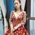 Burgundy Ball Gown Sequins Appliques Deep V-neck Long Sleeve Prom Dress