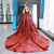 Burgundy Sequins Ball Gown Cap Sleeve Backless Prom Dress